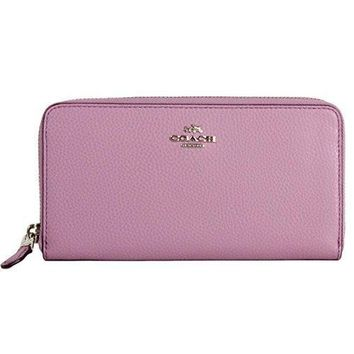 Coach F16612 Bm 02 Pebbled Leather Accordion Zip Around Wallet (sv/lilac)