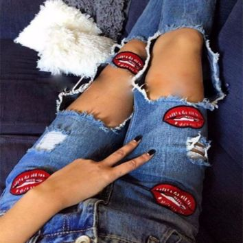 Fashion Edgy Red Lips Print Distressed Ripped Pants Trousers Jeans