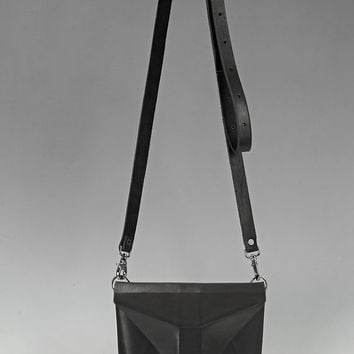 Black Leather Crossbody Bag PARVUS VIA