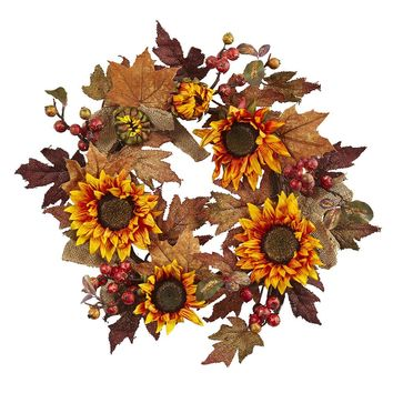 Silk Flowers -24 Inch Sunflower And Berry Wreath Artificial Plant