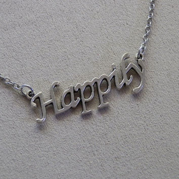Necklace, One Direction inspired, Happily Charm Necklace
