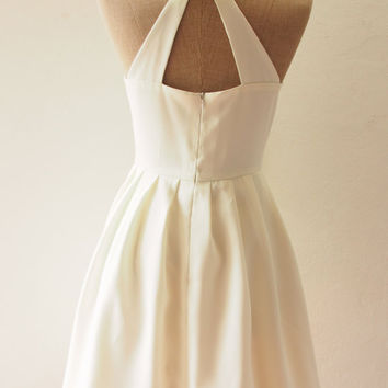 LOVE POTION - White Dress, White Audrey Hepburn Inspired Dress, White Party Dress, Bridesmaid Dress, Off White Dress, White Backless Dress