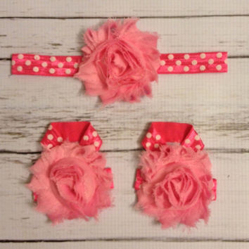 Baby Barefoot Sandals Headband Set...Pink Polka Dot Baby Set..Headband..Barefoot Sandals