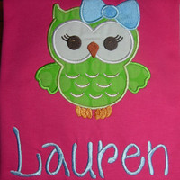 Big Bow Owl Girls Applique T-shirt or Bodysuit