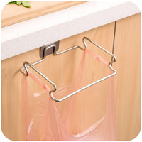 Stainless Steel Garbage Bag Hanger Hooks For Kitchen Space Saver