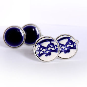 Navy blue cufflinks Blue ceramic cufflinks Delft cufflinks 15mm Navy blue pattern Silver plated Navy blue and white porcelain cufflinks Clay