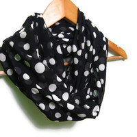 Black Chiffon  Scarf with White Polka Dots
