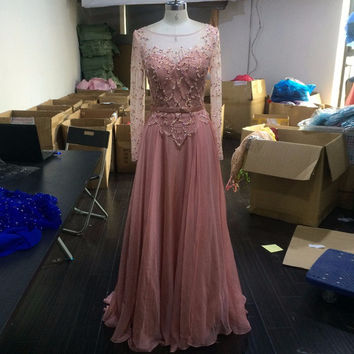 Full Sleeves Prom Dress,Pink Prom Dress,Long Evening Dresses