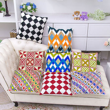 Knit Cars Sofa Cushion Cover Cross Embroidery Cushion [6283475462]