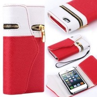 SODIAL(R) Dexule Travel Wristlet Wallet Clutch Bag Pouch Case Cover for Apple iPhone 5 5th Generation 5G (AT&T, T-Mobile, Sprint, Verizon) (White/Red) with Screen Protector