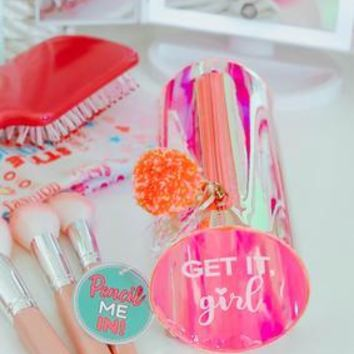3 Happy Hooligans: Pencil Bag - Get It Girl Iridescent Pink