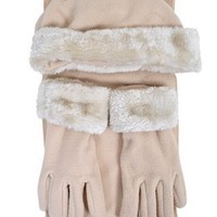 Amazon.com: Cloche Fur Trim 3 Piece Fleece Hat, Scarf & Glove Women's Winter Set, Beige: Clothing
