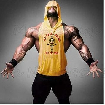 gyms stringer Tank Top with hoodies bodybuilding Sleeveless Shirt Hooded Men Fitness clothing