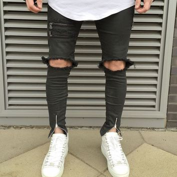 qiyif Fashion Skinny jeans men black zipper Ripped jeans Biker jeans
