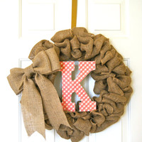 Burlap Wreath / Etsy Wreath / Wreaths for door / Monogram / Door Wreath / Monogram wreath for door / Door Wreaths / Initial Wreath