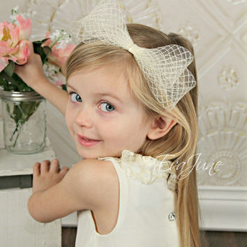 Horse Hair Headband - Ivory, White, Black - Flower Girl Hair Piece - Couture Headpiece - Derby Fascinator - Bridal Wedding Accessory
