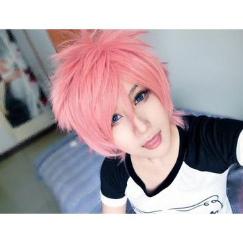 New Designed  35cm Long  Short Synthetic Wigs Ao no Exorcist/Fairy Tail-shima renzou/Natsu Dragneel   Cosplay  Wig