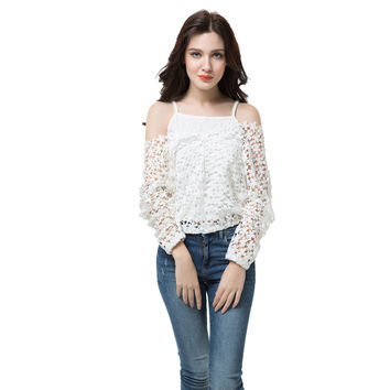 t-shirts women tops two piece vest crochet lace tee v neck long sleeve casual tops blusas plus size white JFY66