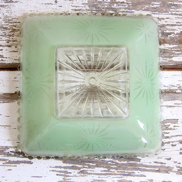 20% OFF SALE Vintage Mint Green Glass Globe Light Shade for the Ceiling / square cover