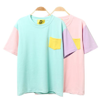 2017 Korean Women Summer Style Fashion Harajuku Patchwork T Shirts Kawaii Cotton Short Sleeve Casual Tee Female Loose Cute Tops
