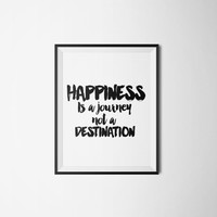 "Typography quote ""Happiness is a Journey"" Wall art Wall artwork Inspirational poster Motivational art black and White Travel quote Word art"