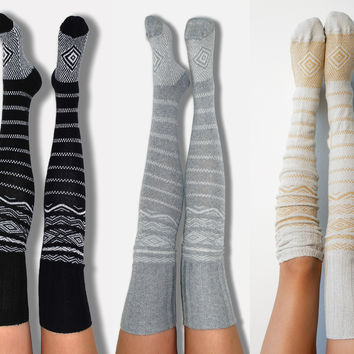 3pk Scandinavian Thigh High Socks - Multi Pack, Bridesmaid Gifts