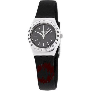 Swatch Irony Camanoir Black Dial Silicone Strap Ladies Watch YSS312