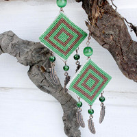 Embroidered boho earrings handembroidered jewelry bohemian dangling tribal earrings gift her feathers cat's eye green brown square geometric