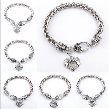 New Arrival Gift Stylish Great Deal Awesome Shiny Hot Sale Heart Rhinestone Pendant Gifts Bracelet [8026071751]