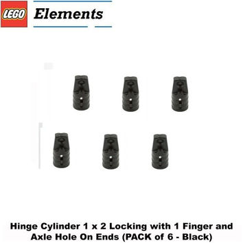 Lego Parts: Hinge Cylinder 1 x 2 Locking with 1 Finger and Axle Hole On Ends (PACK of 6 - Black)