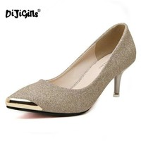 Dijigirls Women Pumps High Heels 2018 Metal Head Pointed Stiletto Work Shoes Sexy Sequins Shoes Zapatos Mujer Black Gold Silver