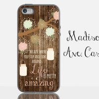 Life Is Pretty Amazing Quote Rustic Wood Hanging Mason Jar Pink Brown Flower Samsung Galaxy Edge iPhone 5s 4 4s 6 6s Plus Tough Phone Case