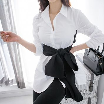 Cross Lace up Kimono Top Female Long Sleeve Women's Shirt Casual White Shirts Tops