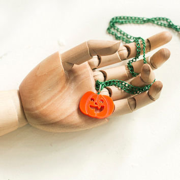 Pumpkin Necklace,Halloween Jewelry,Lasercut Acrylic,Gifts Under 20