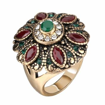 Vintage Wedding Rings For Women Red Crystal Antique Gold Party Cocktail Ring