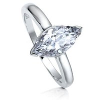 BERRICLE Sterling Silver Marquise Cut Cubic Zirconia CZ Solitaire Womens Engagement Wedding Ring