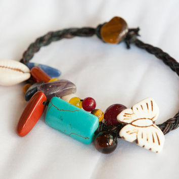 Gypsy Unique Stone Bracelet Waxed Linen Cord Butterfly Seashell Fixed-length (SF1)