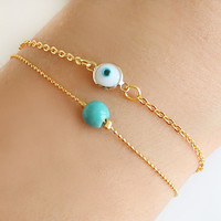 Evil eye bracelet white turquoise bracelet gold plated ball chain dainty istanbul turkey jewelry ethnic arabic best friend birthday gift