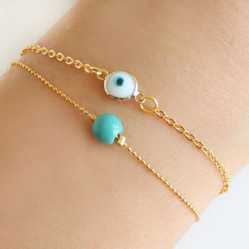 Evil Eye Bracelet White Turquoise Gold Plated Ball Chain Dainty Istanbul Turkey Jewelry Ethnic Arabic