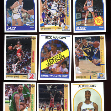 NBA Vintage Basketball All Stars,Hoops 1989/90, Upperdeck 1991/92, lot of 9 cards,John Stockton, Tim Hardaway (Golden State),Reggie Miller