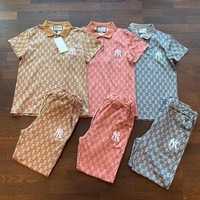 GUCCI Fashion Casual Pattern Letter Print Short Sleeve Set Two-Piece