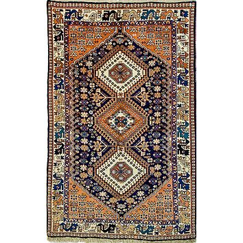 Oriental Yalamah Persian Tribal Wool Rug, Orange/Blue