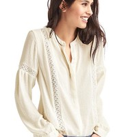 Crochet panel peasant blouse | Gap