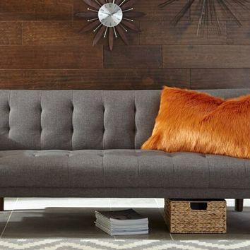 Skyler collection grey woven fabric upholstered sofa futon bed with tufted backs