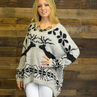 Season's Greetings Gray Oversized Reindeer Sweater