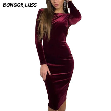 BONGOR LUSS Velour Women Autumn Velvet Dress New O-Neck Long Sleeve Midi Party Dresses Elegant Backless Sexy Women Club Dresses