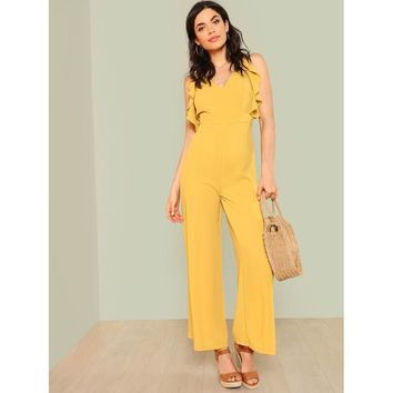 Lattice Back Wide Leg Jumpsuit with Ruffle Trim MUSTARD