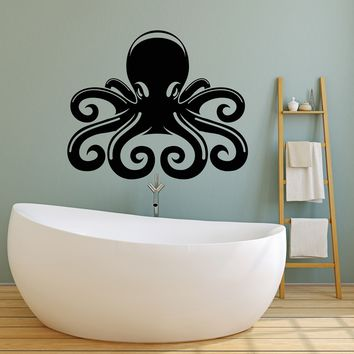 Vinyl Wall Decal Sea Ocean Octopus Cartoon Nautical Stickers (2574ig)