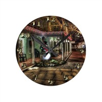 Christmas Decoration in City with Snowman by House Round Clock