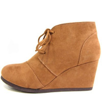 Rex Wedge Suede Ankle Boots : Hazel